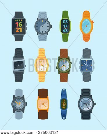 Stylish Wristwatch Set. Modern Watches Fashionable Retro Elite Design Mechanical Electronic Batterie