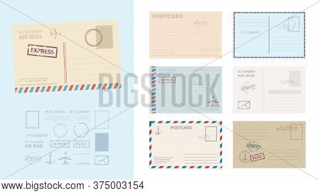 Envelope Postcard Template Set. Stylish Card Greeting Stamps Postal Services Red Blue Frame Fast Del