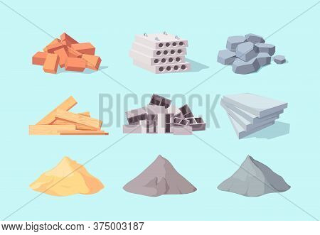 Material Building Set. Piles Large Gray Cement Facing Stone Drywall Packaging Yellow Sand Concrete B
