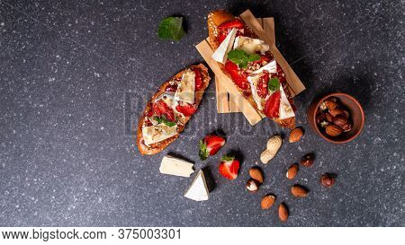 Summer Snack. Delicious Homemade Crostini With Strawberries And Cheese. Balanced Nutrition. Food Rec