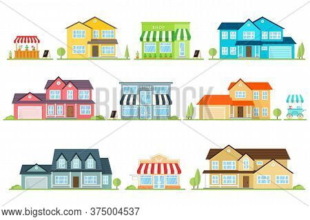 Vector Flat Icon Suburban American House And Street Store. For Web Design And Application Interface,