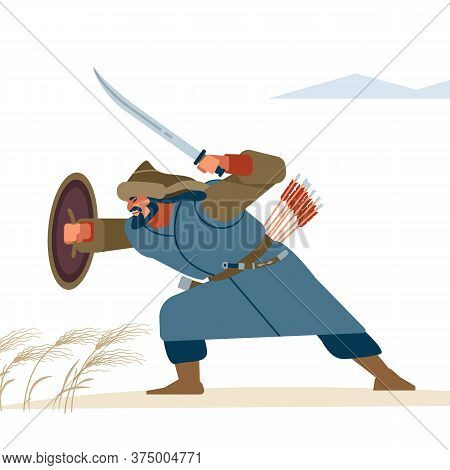 Warrior In Posie Protection In Battle. Historical Illustration. Isolated Vector Flat Illustration.