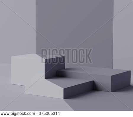 3d Geometric Forms. Box Podium In Grey Color. Fashion Show Stage,pedestal, Shopfront With Colorful T