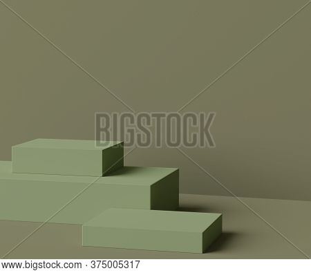 3d Geometric Forms. Box Podium In Green Color. Fashion Show Stage,pedestal, Shopfront With Colorful