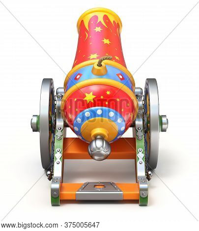 Back View Of Ancient Circus Cannon On White Background - 3d Illustration