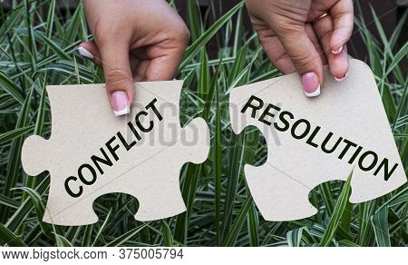 Conflict And Resolution On Fragments Of A Mosaic In The Hands Of A Girl On A Green Background