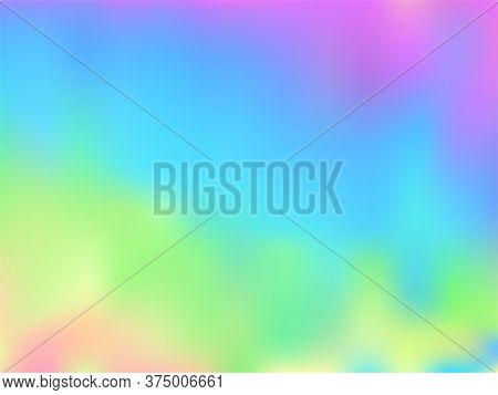 Blurred Hologram Texture Gradient Wallpaper. Digital Pastel Rainbow Unicorn Background. Hologram Col