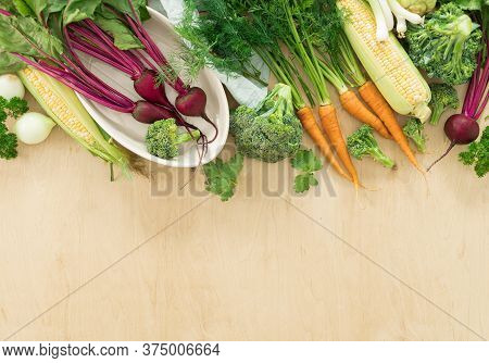 Raw Ingredients For Cooking Vegetarian Food On Wooden Table Healthy Vegan Meal Top View