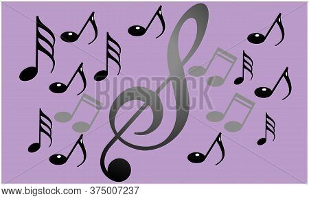 Several Music Signs On Abstract Background Art