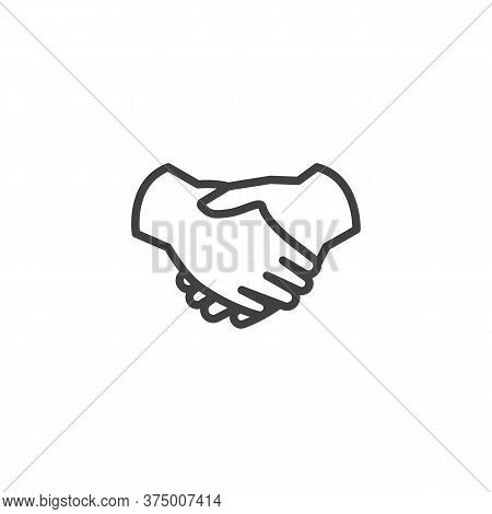 Handshake Line Icon. Linear Style Sign For Mobile Concept And Web Design. Deal Handshake Outline Vec