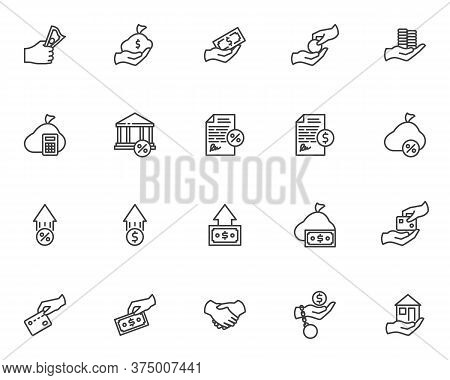 Credit And Loan Line Icons Set. Linear Style Symbols Collection, Outline Signs Pack. Business Financ