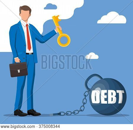 Businessman With Key Opens Debt Weight Chain. Big Heavy Debt Weight With Shackles And Business Man I