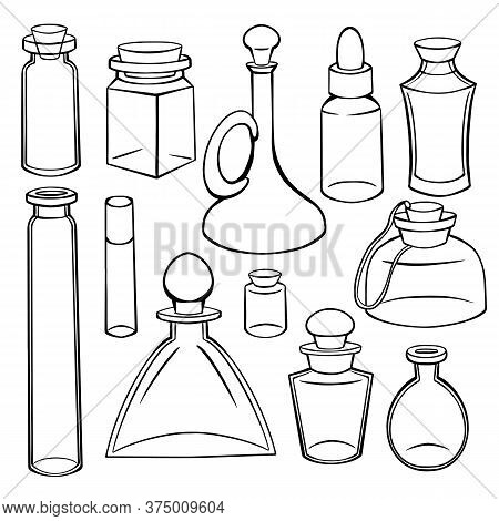 Contour Sketch Of Bottles, Flasks And Jars. Containers For Perfumes And Medicines. Natural Medicine.