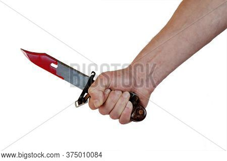Hand Holding A Bloody Hunter's Knife, Isolated On White Background