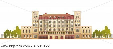 Exterior Facade Of A Country Multistory Hotel Ornate Victorian Style Horizontal Vector Illustration
