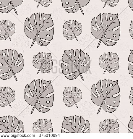 Gray Leaves. Simple Seamless Pattern For Wrapping Paper, Covers, Fabric, Pillows, Bedding, Covers, G
