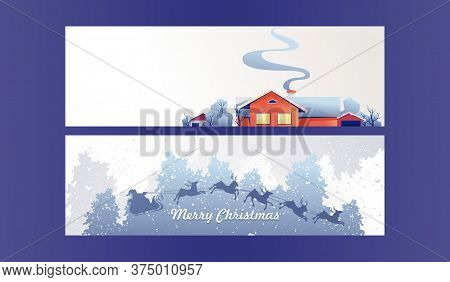 Set Of Horizontal Banners On A White Background, Winter Landscape, A Lonely Hut In A Snowy Forest