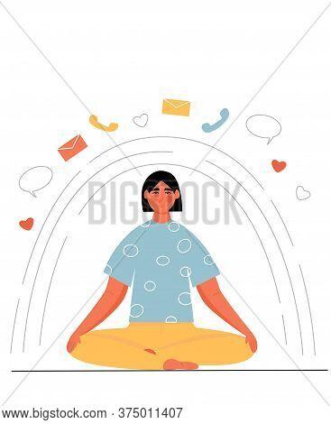 Woman Meditating In Lotus Pose. Digital Detox. Offline. Time To Detox. Modern Flat Vector Illustrati