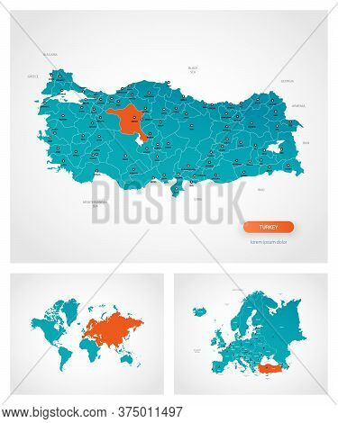 Editable Template Of Map Of Turkey With Marks. Turkey On World Map And On Europe Map.
