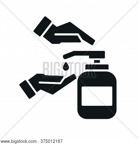 Washing Hands With Sanitizer Liquid Soap Vector Black Icon Isolated On White Background. Sanitary An