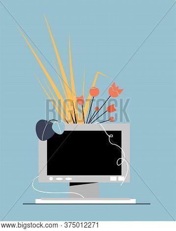 Computer With Flowers. Digital Detox. Offline Concept. Modern Flat Vector Illustration.