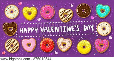 Donuts With Happy Valentines Day Note. Different Donuts In Shape Of Hearts And Circle