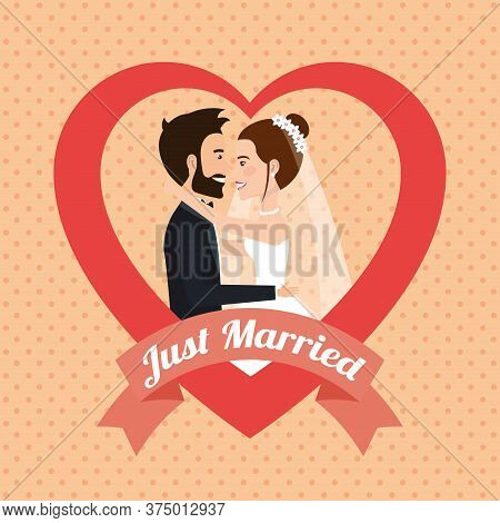 Just Married Couple Kissing Avatars Characters Vector Illustration Design
