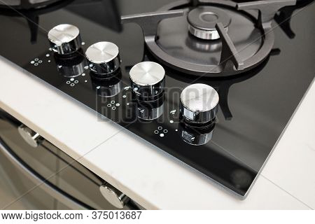 Hob Cooker Oven Made Of Glass Grill Stainless Steel Control Knobs Selective Focus Over Out Of Focus