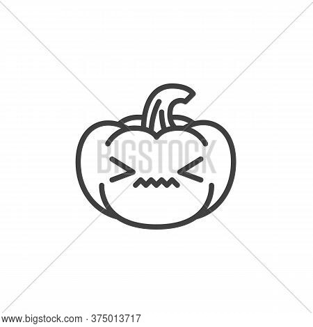 Confounded Pumpkin Face Emoji Line Icon. Linear Style Sign For Mobile Concept And Web Design. Annoye
