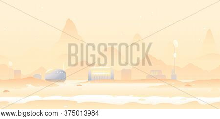 Martian Landscape With Martian Colony, Colonization Concept Illustration Game Background Tillable Ho