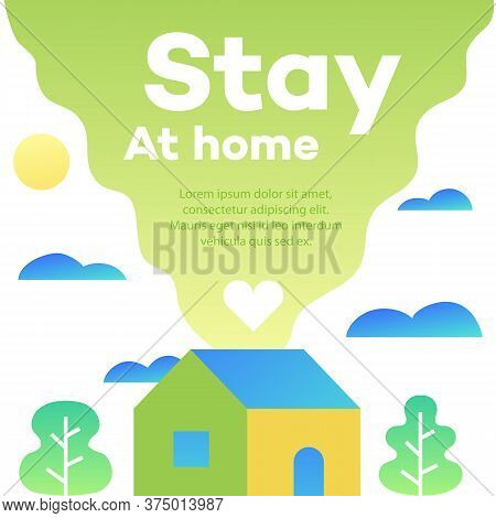 Stay At Home Concept Illustration With House Modern Cute Style. Work From Home Vector Banner For Epi