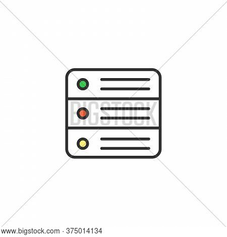 Vector Server Icon. Data Center, Hosting Concept. Premium Quality Graphic Design. Stock Vector Illus