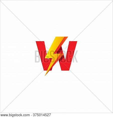 W Letter Initial Logo Design Template. Alphabet With Thunder Shape Logo Concept. Isolated On White B
