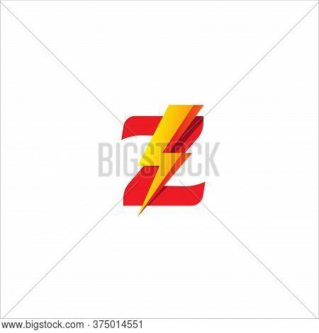 Z Letter Initial Logo Design Template Isolated On White Background. Alphabet With Thunder Shape Logo