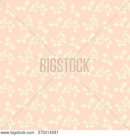 Seamless Baroque Wallpaper. White-pink Flower Ornament For Fabric, Wallpaper, Packages. Graphic Vect