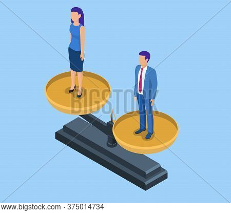 3d Isometric Businessman And Businesswoman Equal On A Scale. Business And Gender Equality Concept. B