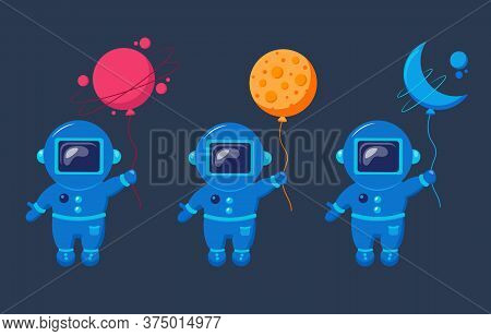 Funny Spacemans Fly With Moon Like A Balloon. Funny Cosmonauts.