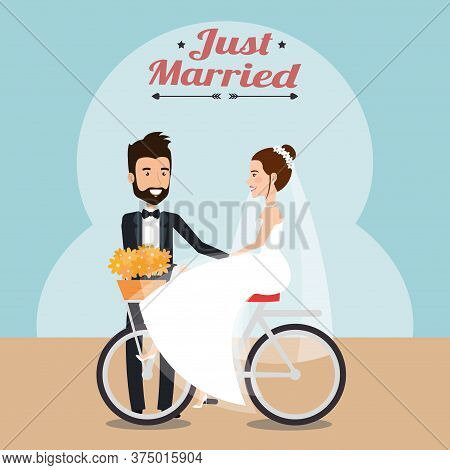 Just Married Couple In Bicycle Avatars Characters Vector Illustration Design
