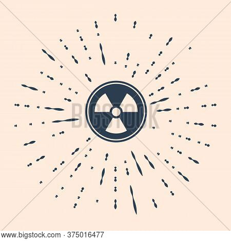 Black Radioactive Icon Isolated On Beige Background. Radioactive Toxic Symbol. Radiation Hazard Sign
