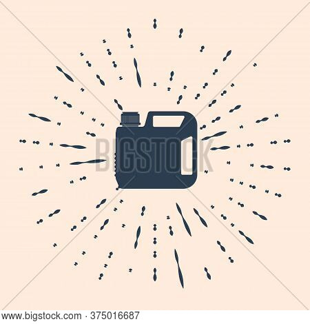 Black Plastic Canister For Motor Machine Oil Icon Isolated On Beige Background. Oil Gallon. Oil Chan