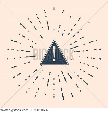 Black Exclamation Mark In Triangle Icon On Beige Background. Hazard Warning Sign, Careful, Attention