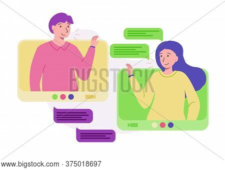 Connection People Video Network From Home. People Using Virtual Communication. Video Call Conference
