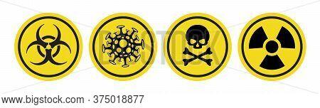 Coronavirus Vector Icon, Bio Hazard Symbol, Radiation Sign, Toxic Emblem Isolated On White Backgroun