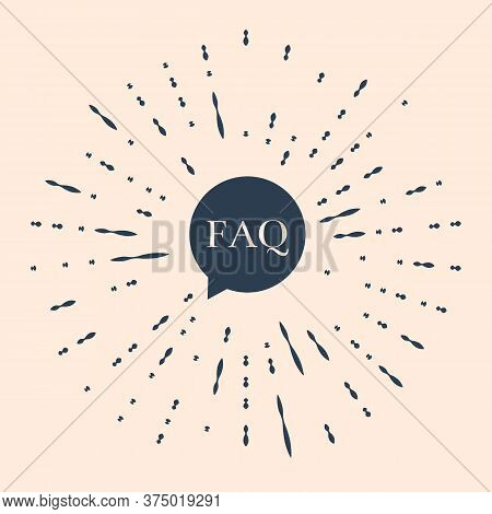 Black Speech Bubble With Text Faq Information Icon Isolated On Beige Background. Circle Button With