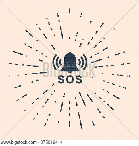 Black Alarm Bell And Sos Lettering Icon Isolated On Beige Background. Warning Bell, Help Sign. Emerg