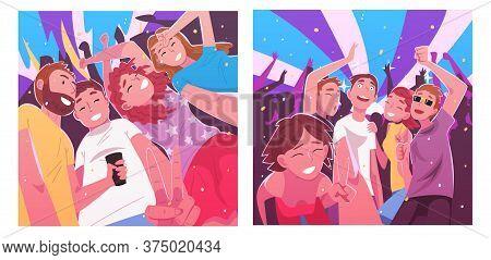 People Dancing And Making Selfie In Nightclub Set, Happy Men And Women Having Fun At Party Or Music