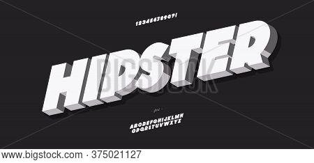 Vector Hipster 3d Bold Font Modern Typography For Poster, Event Decoration, Motion, Video, Game, T S