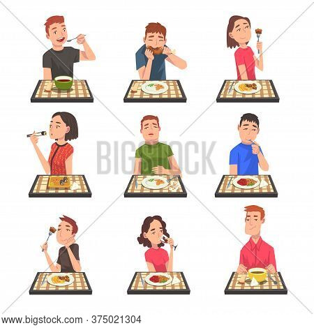 People Eating Different Meals Set, Men And Women Sitting At Tables With Checkered Tablecloth Enjoyin