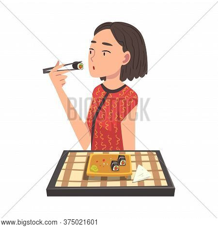 Young Woman Eating Delicious Asian Food, Cheerful Girl Sitting At Table With Checkered Tablecloth Ea
