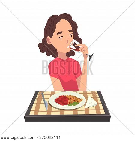 Young Woman Eating Delicious Meal And Drinking Wine, Cheerful Girl Sitting At Table With Checkered T